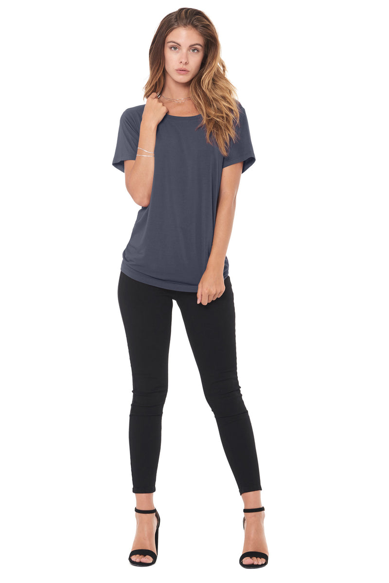 WOMEN'S MODAL WIDE NECK TEE - GRAPHITE