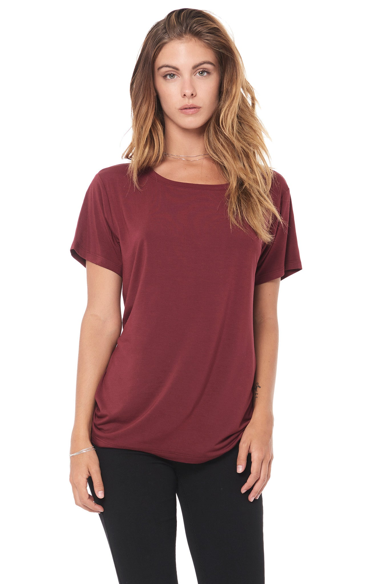 WOMEN'S MODAL WIDE NECK TEE - MAROON