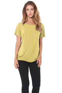 WOMEN'S MODAL WIDE NECK TEE - MOSS