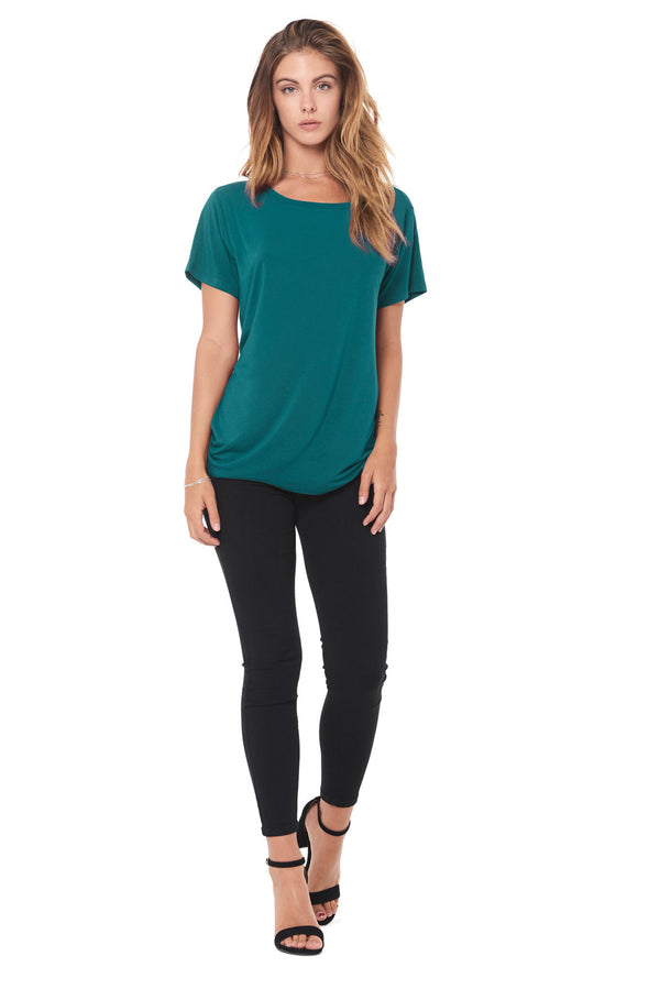 WOMEN'S MODAL WIDE NECK TEE - TEAL