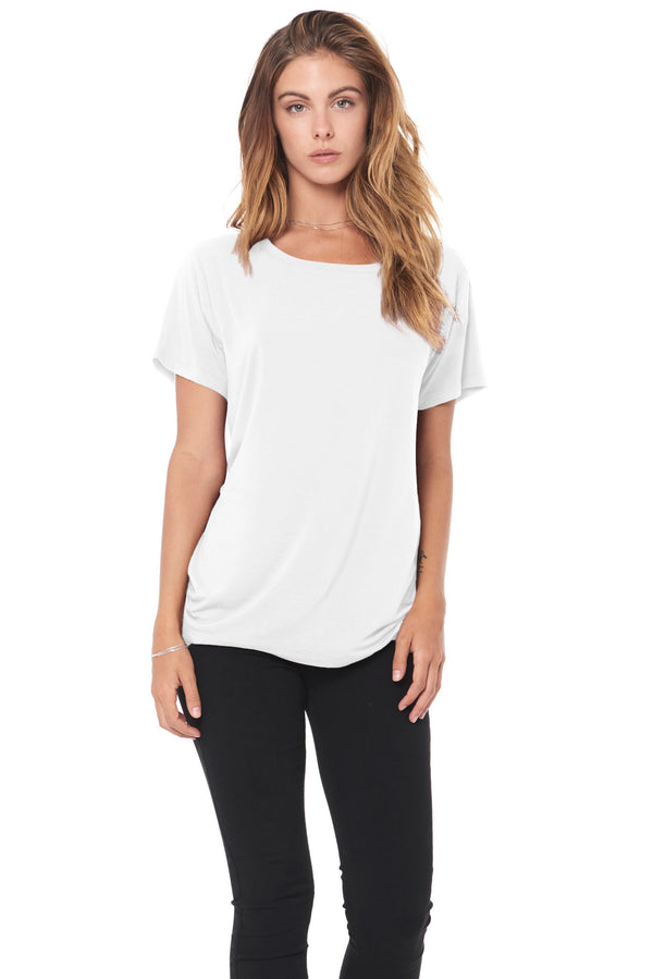 WOMEN'S MODAL WIDE NECK TEE - WHITE