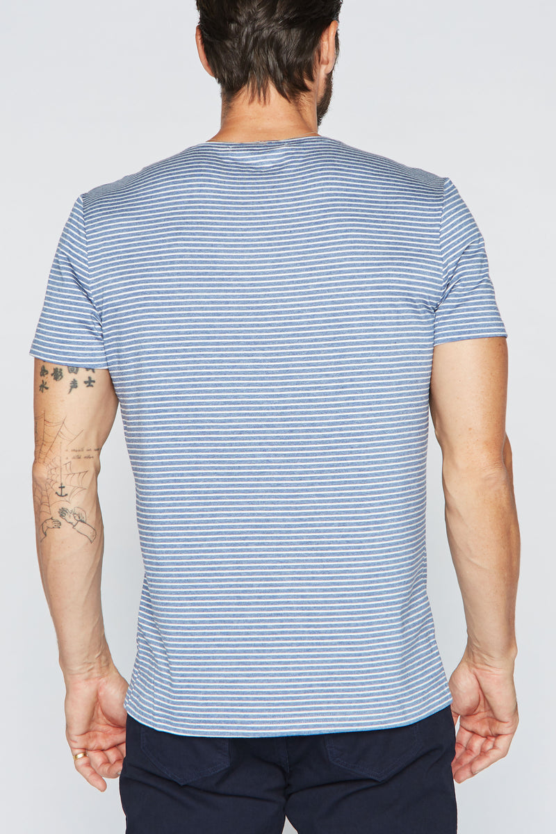 Men's Crew Neck Stripe Tee - Blue / White