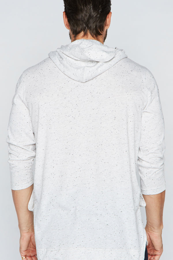 Men's 3/4 Sleeve Cowl Neck Visor Hoodie - Multi-Dot