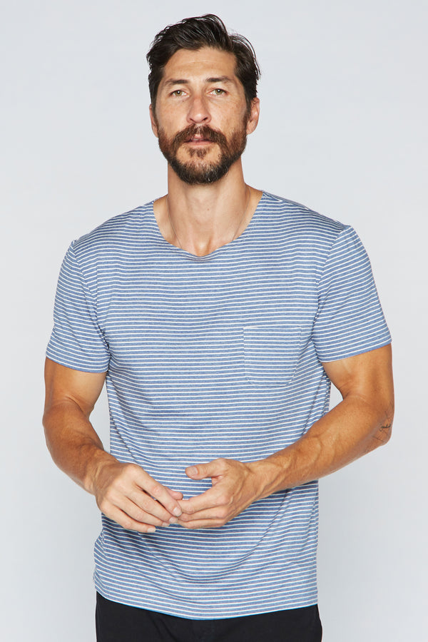 Men's Sailor Pocket Stripe Tee - Blue/White
