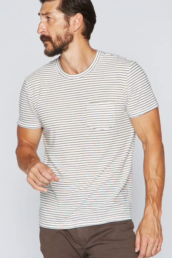 Men's V-Pocket Stripe Tee - White / Black