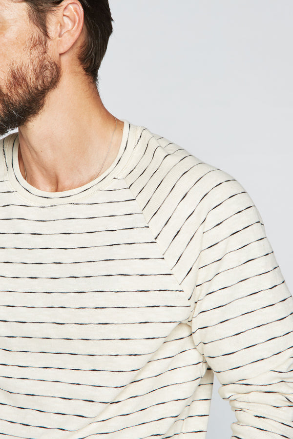 Men's Hacci Slub Pullover Sweater - Black/Ivory Stripe