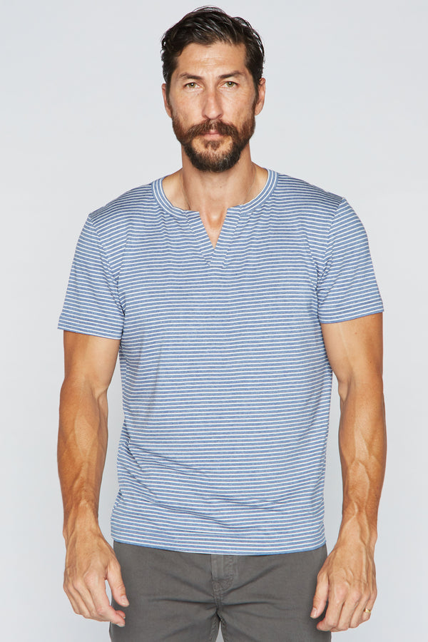 Men's Cross V-Neck Stripe Tee - Blue / White