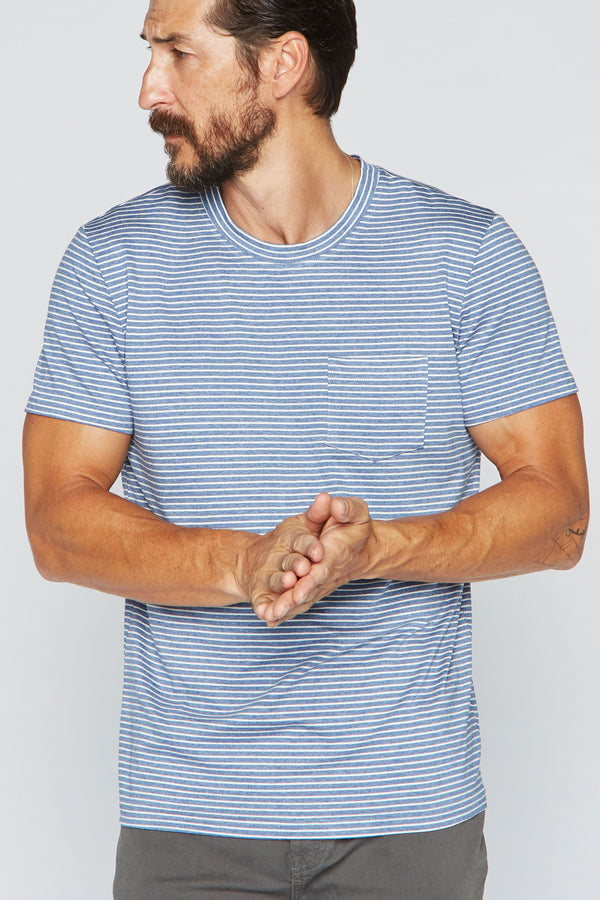Men's V-Pocket Stripe Tee - Blue / White