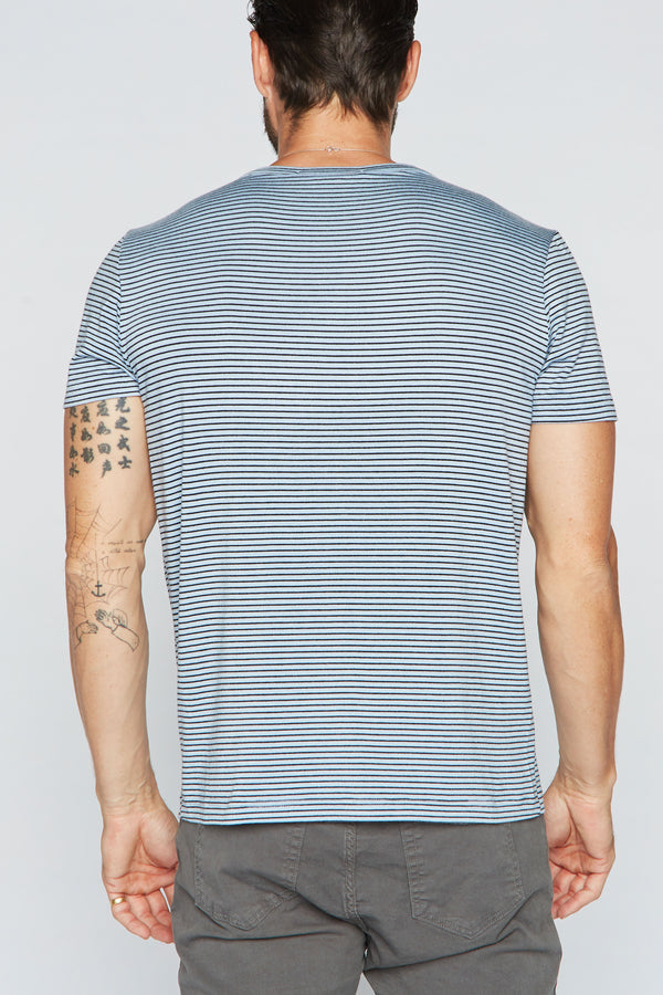 Men's Cross V-Neck Stripe Tee - Blue / Black