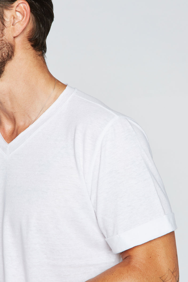 Men's Tri-Blend Stitch Sleeve V-Neck Tee