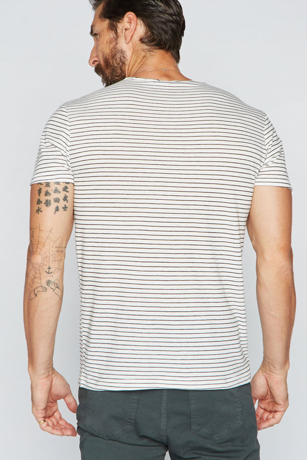 Men's Sailor Pocket Stripe Tee - White/Black