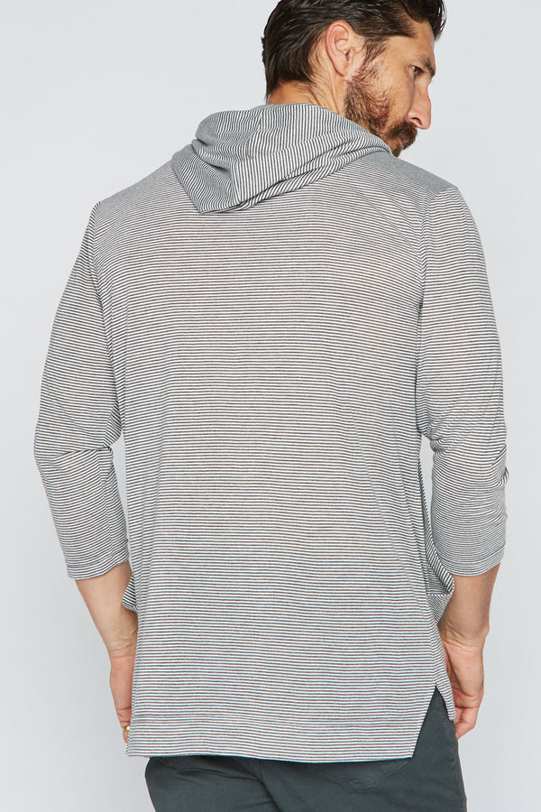 Men's 3/4 Sleeve Cowl Neck Visor Hoodie - Grey & White Stripe