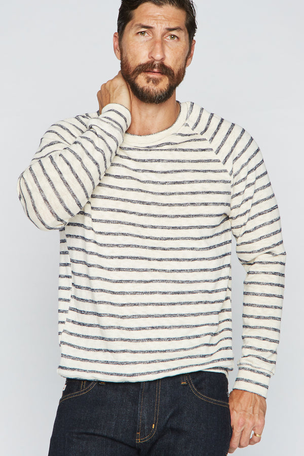 Men's Slub Jersey Pullover Sweater - Navy/Cream Stripe