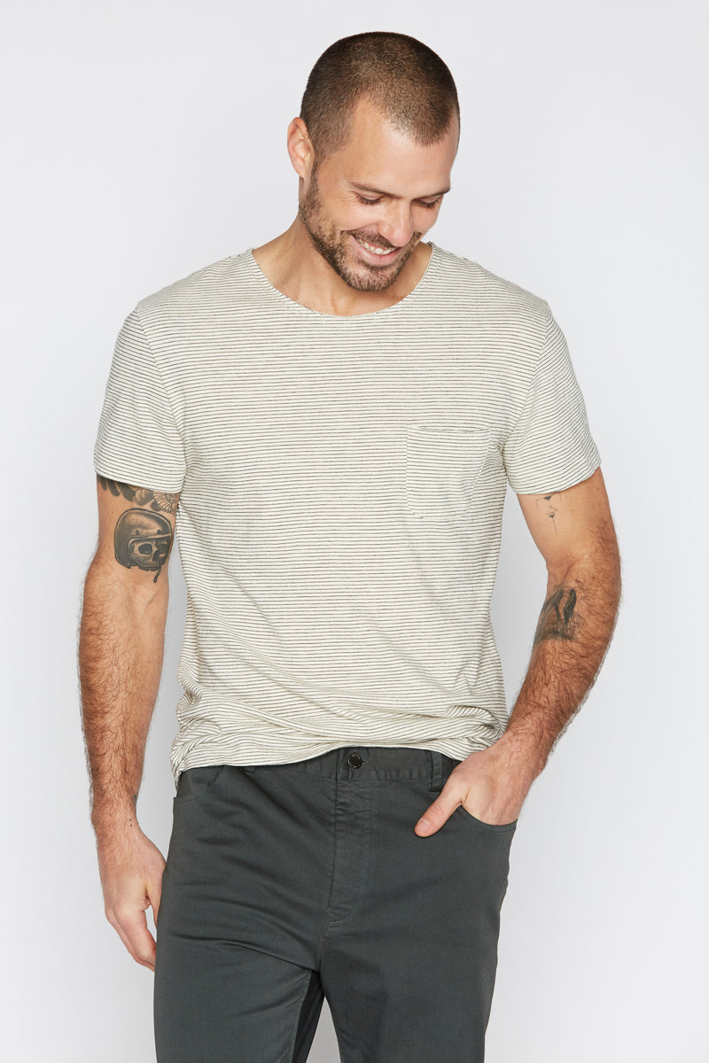 Men's Sailor Pocket Stripe Tee - Ivory / Black
