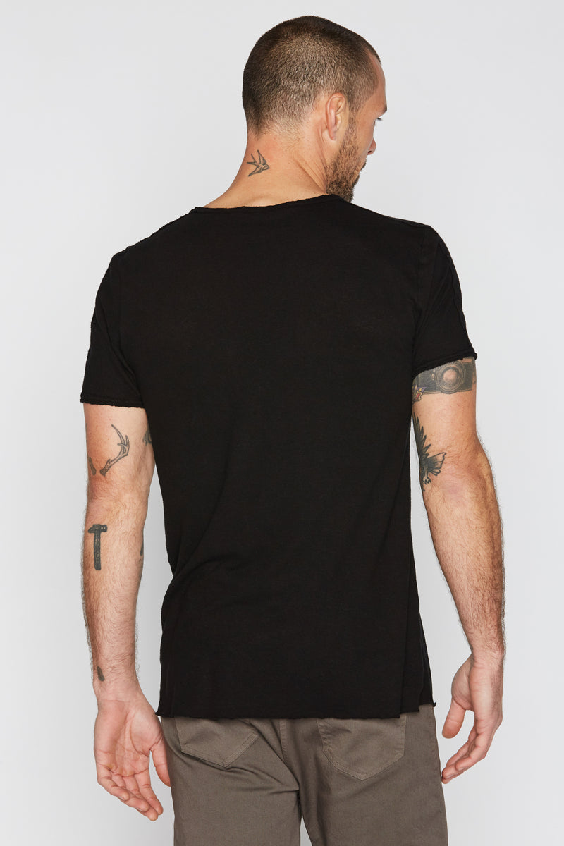 Men's Cotton Linen Patch Sleeve Tee