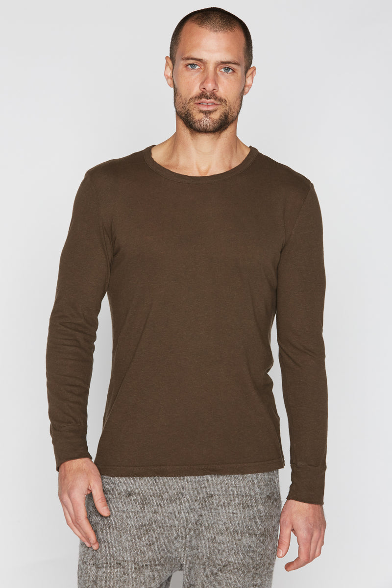 Men's Linen Blend Wide Cuff Long Sleeve Tee
