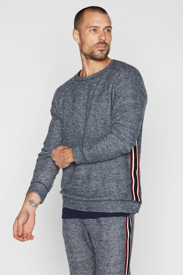 Men's Melange Stripe Side Pullover Sweatshirt