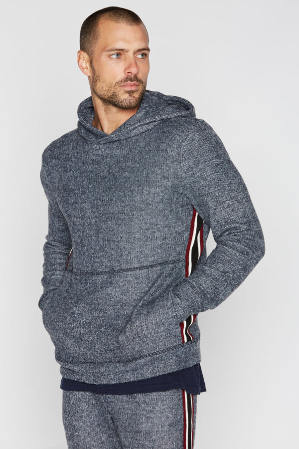Men's Melange Stripe Side Pullover Hoodie