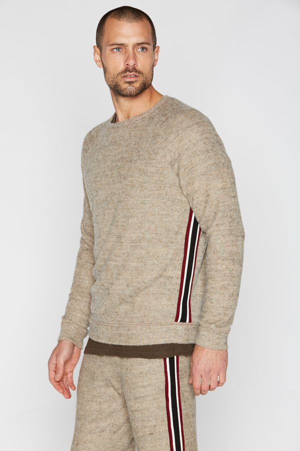 Men's Soft Knit Melange Side Stripe Pullover Sweater