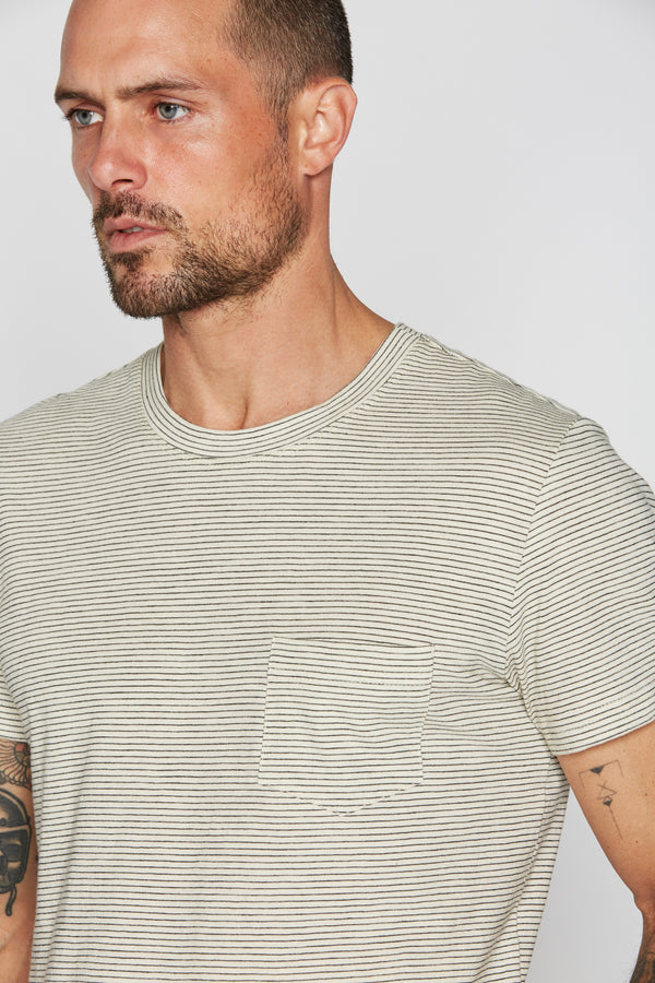 Men's V-Pocket Stripe Tee - Ivory / Black