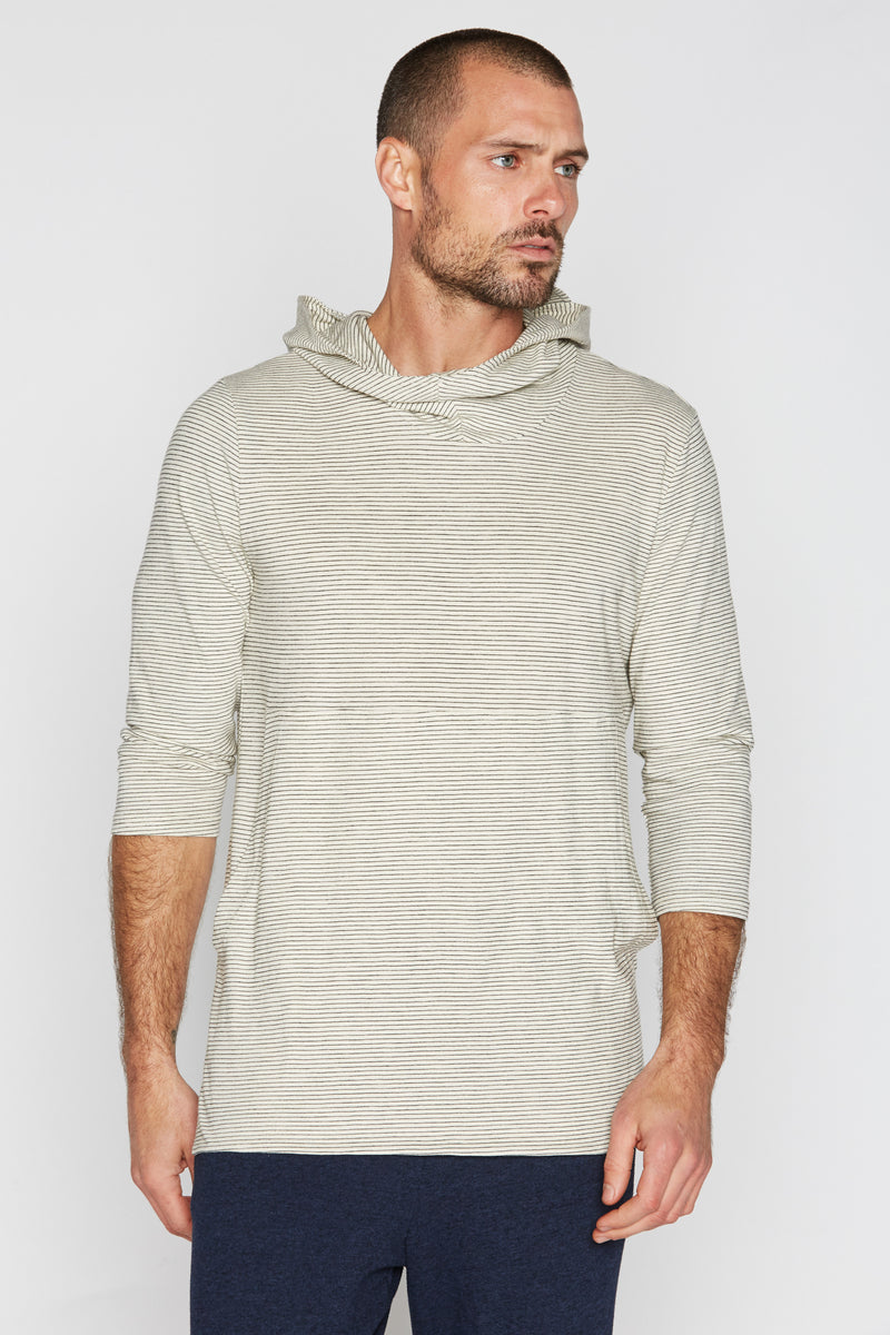 Men's 3/4 Sleeve Cowl Neck Visor Hoodie - Ivory & Black Stripe