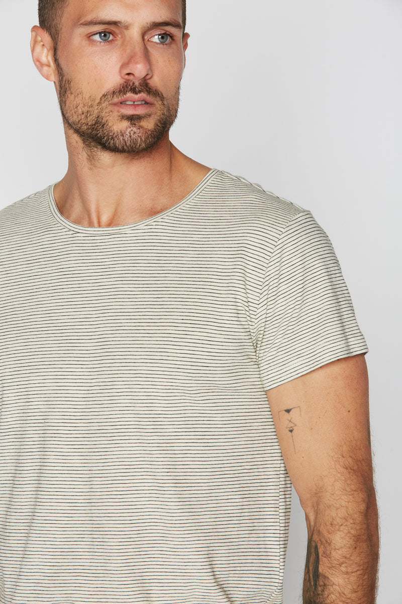 Men's Crew Neck Stripe Tee - Ivory / Black