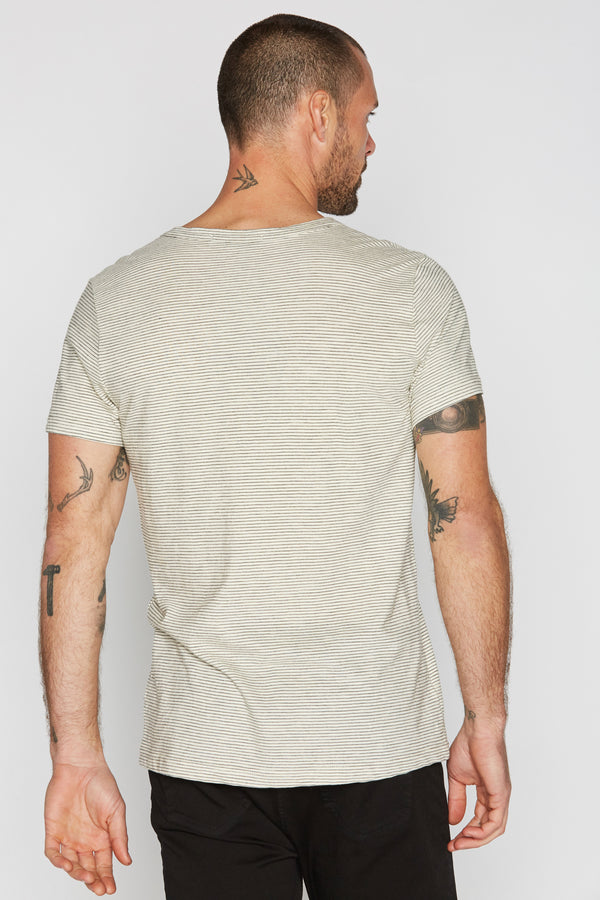 Men's Cross V-Neck Stripe Tee