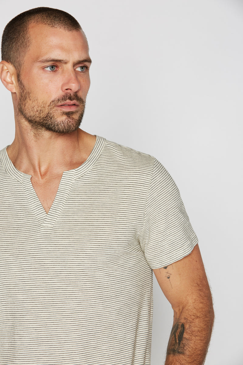 Men's Cross V-Neck Stripe Tee - Ivory / Black