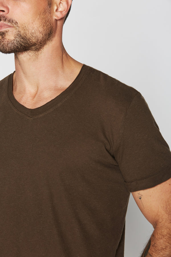 Men's Cotton Linen V-Neck Tee