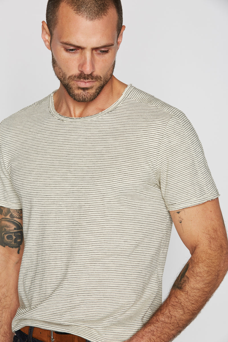 Men's Raw Edge Patch Sleeve Stripe Tee - Ivory / Black