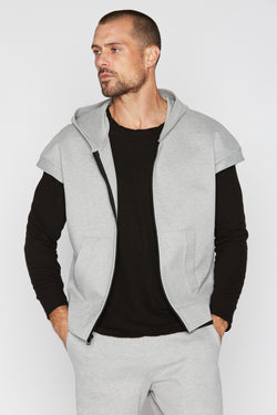 Men's Performance Ponte Zip Front Sleeveless Hoodie