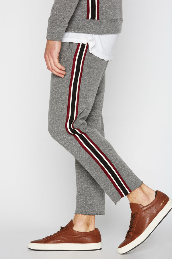 Men's French Terry Stripe Side Cut Off Pant