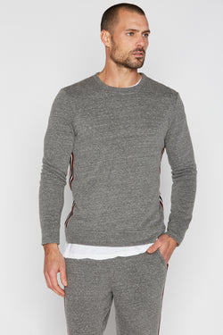 Men's French Terry Stripe Side Pullover Sweatshirt