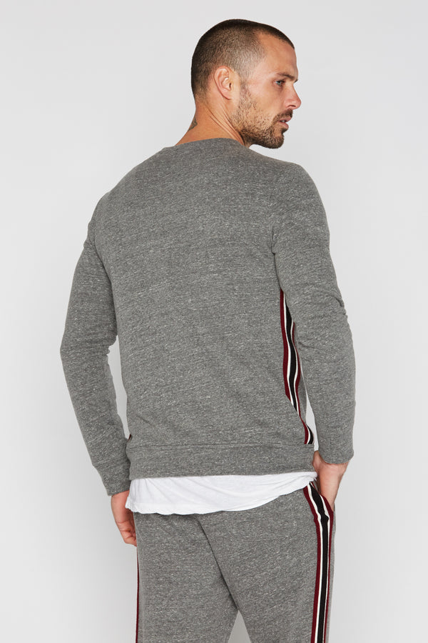 Men's French Terry Side Stripe Crew Neck Sweatshirt