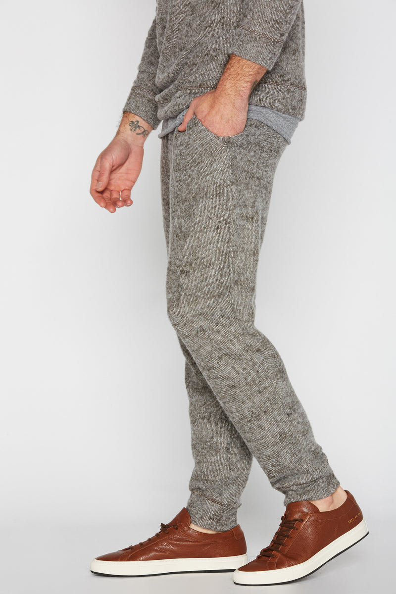 Men's Melange Knit Band Bottom Pant