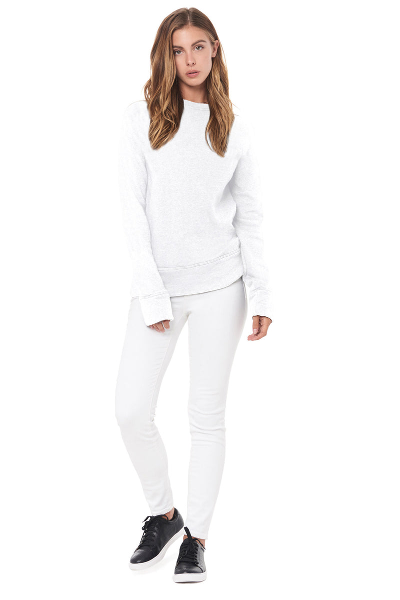 WOMEN'S FRENCH TERRY RELAXED FIT PULLOVER SWEATSHIRT- WHITE