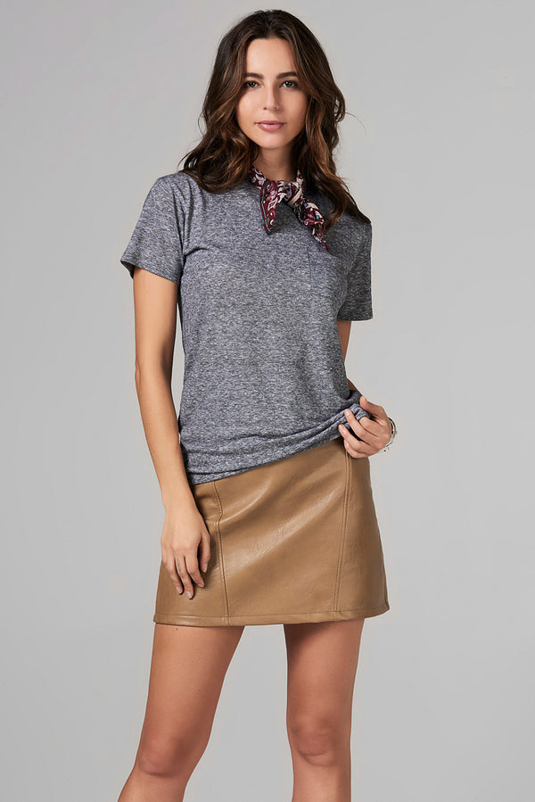 WOMEN'S POCKET SAILOR CREW NECK TEE - MINI STRIPE