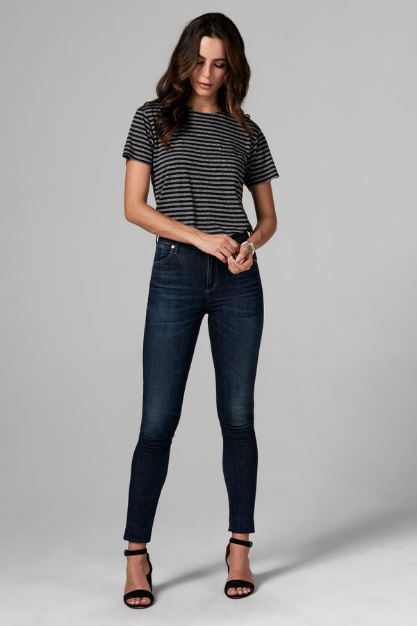 WOMEN'S POCKET SAILOR CREW NECK TEE - QUARTER STRIPE