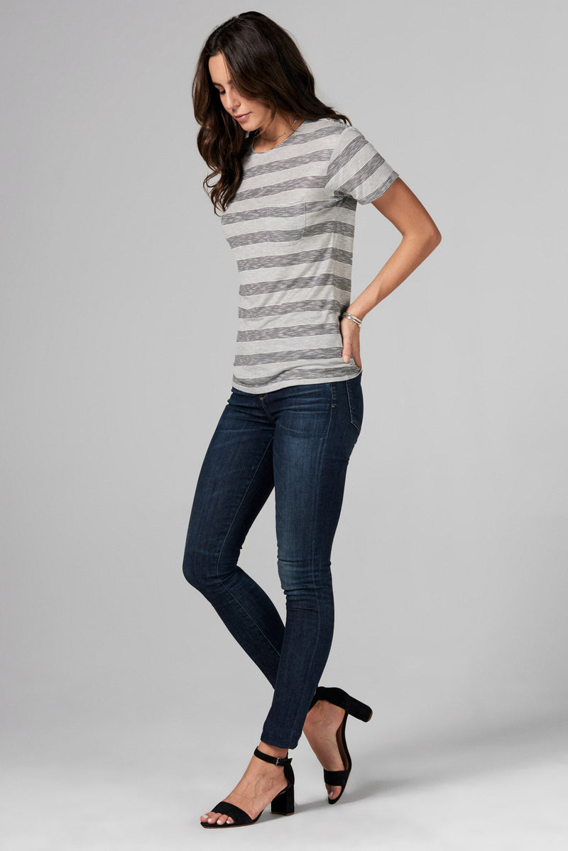 WOMEN'S POCKET SAILOR CREW NECK TEE- RETRO STRIPE