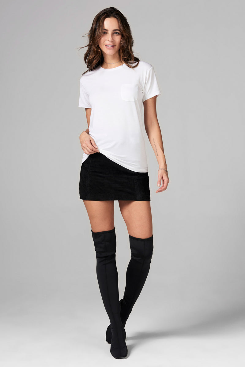 WOMEN'S MODAL POCKET SAILOR CREW NECK TEE - WHITE