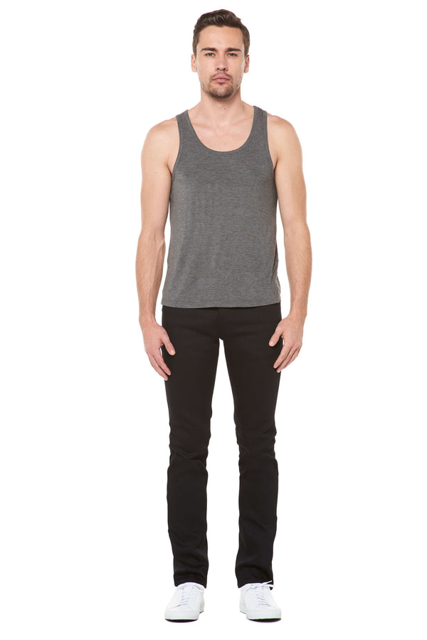 MEN'S MODAL SCOOP NECK TANK TOP - HEATHER GREY