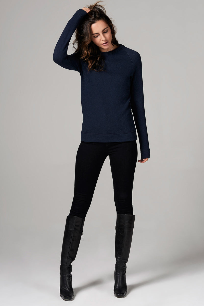 WOMEN'S FRENCH TERRY SLIM FIT PULLOVER SWEATSHIRT - NAVY