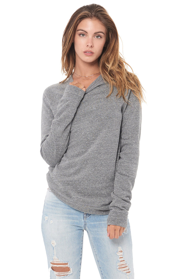 WOMEN'S FRENCH TERRY SLIM FIT PULLOVER SWEATSHIRT - HEATHER GREY