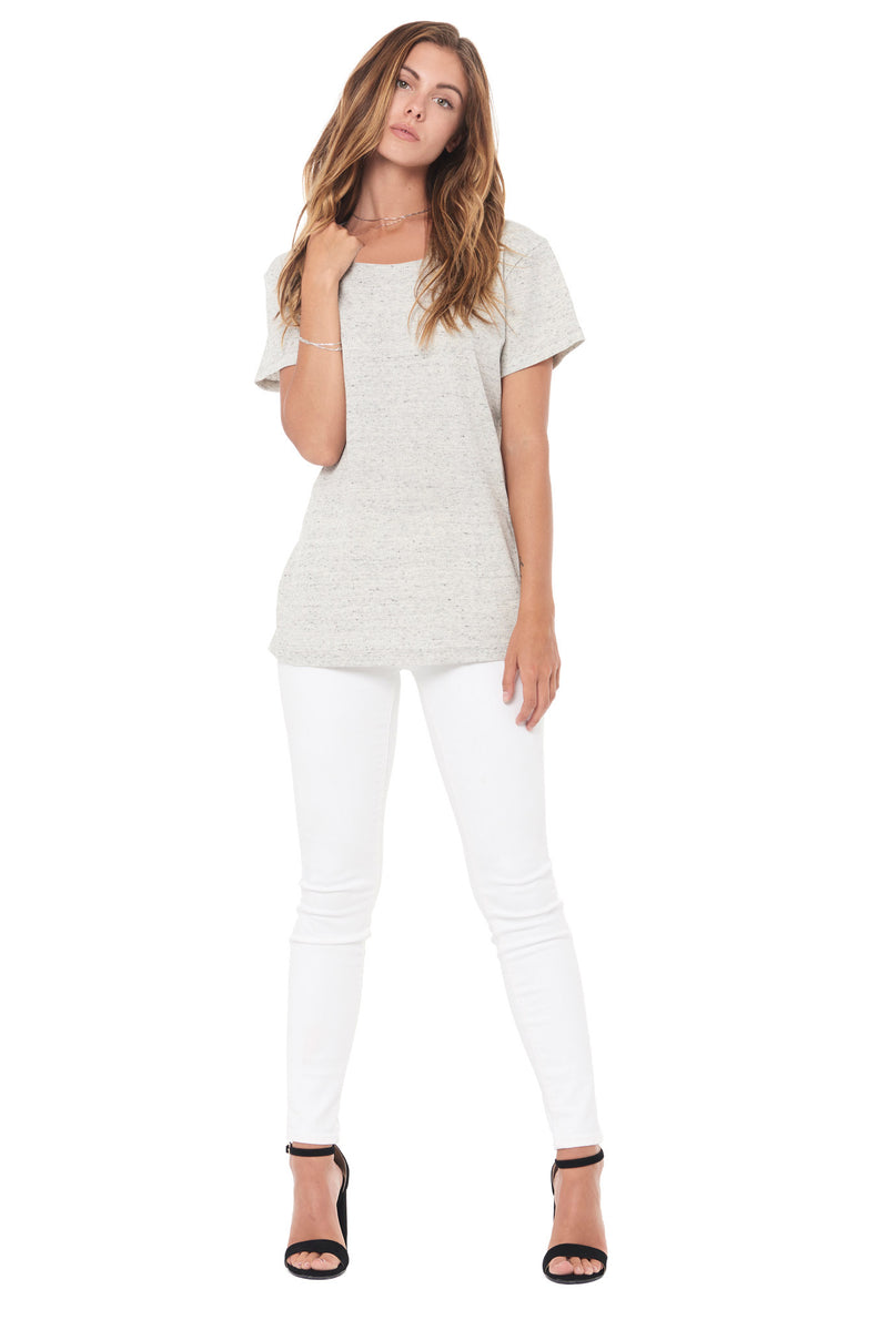 WOMEN'S NOVELTY TEXTURE WIDE NECK TEE - CREAM THERMAL