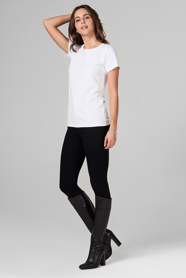 WOMEN'S HEAVY COTTON WIDE NECK TEE - WHITE