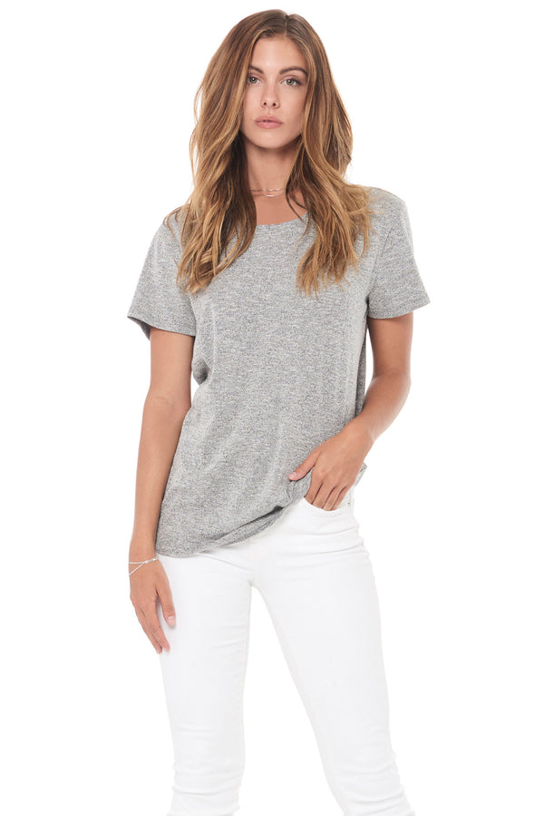 WOMEN'S NOVELTY TEXTURE WIDE NECK TEE - MELANGE