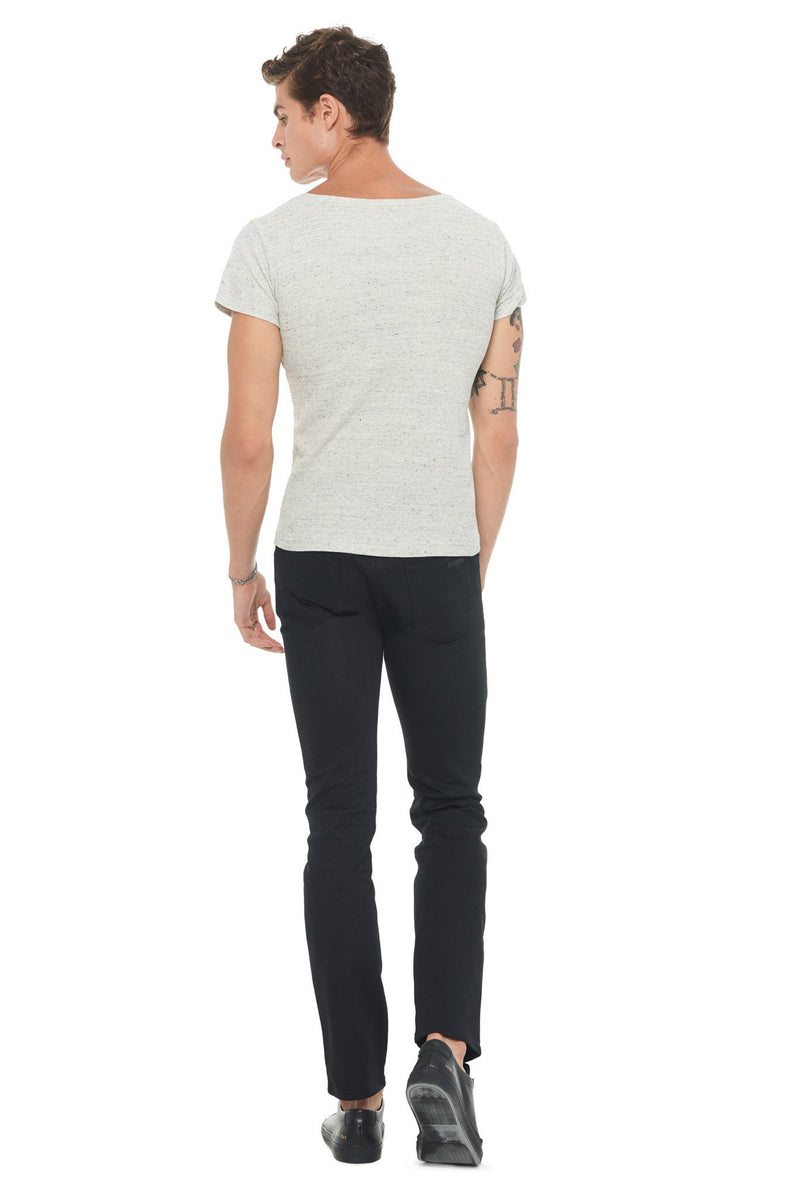 Men's Novelty Texture Wide Neck Tee