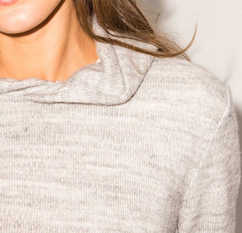 Women's Melange Knit Pullover Hoodie - Heather Grey