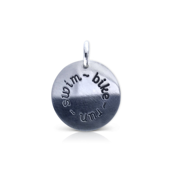 "Large Round ""swim/bike/run"" Charm"
