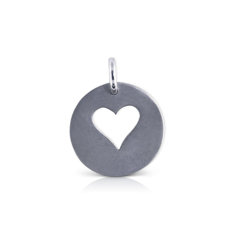 "Large Round ""run with heart"" Charm"